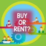 Word écrivant l'achat ou le loyer des textes Concept d'affaires pour le doute entre posséder quelque chose pour l'obtenir pour l' illustration stock
