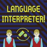 Word écrivant l'interprète de langue des textes Concept d'affaires pour des messages Convey entre l'argent différent de deux l illustration libre de droits