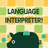Word écrivant l'interprète de langue des textes Concept d'affaires pour des messages Convey entre deux langues différentes col illustration libre de droits