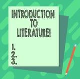 Word écrivant l'introduction des textes à la littérature Concept d'affaires pour la pile préparatoire de cours de composition du  illustration de vecteur
