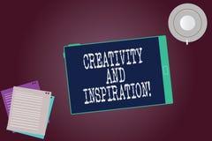 Word écrivant la créativité et l'inspiration des textes Le concept d'affaires pour la stratégie employée pour prendre des décisio photo stock