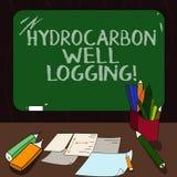Word écrivant la diagraphie d'hydrocarbure des textes Concept d'affaires pour le disque des formations géologiques d'un blanc mon illustration de vecteur