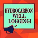 Word écrivant la diagraphie d'hydrocarbure des textes Concept d'affaires pour le disque des formations géologiques d'un bruit de  illustration stock