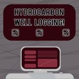 Word écrivant la diagraphie d'hydrocarbure des textes Concept d'affaires pour le disque des formations géologiques d'un ordinateu illustration de vecteur