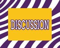 Word écrivant la discussion des textes Concept d'affaires pour le processus de parler de quelque chose afin de prendre une décisi illustration stock