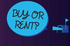 Word écrivant la question d'achat ou de loyer des textes Concept d'affaires pour le doute entre posséder quelque chose pour l'obt illustration libre de droits