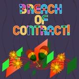 Word écrivant la rupture de contrat des textes Concept d'affaires pour l'acte de casser les termes présentés à l'affaire ou à l'a illustration stock