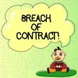 Word écrivant la rupture de contrat des textes Concept d'affaires pour l'acte de casser les termes présentés au bébé d'affaire ou illustration stock