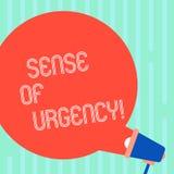 Word écrivant la sensation d'urgence des textes Concept d'affaires pour que la première priorité ou quelque chose soit rapidement illustration stock