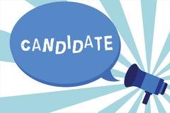 Word écrivant le candidat des textes Concept d'affaires pour démontrer qui fait acte de candidature pour le travail ou est nommé  illustration de vecteur
