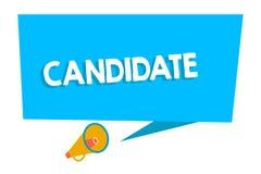 Word écrivant le candidat des textes Concept d'affaires pour démontrer qui fait acte de candidature pour le travail ou est nommé  illustration stock