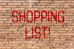 Word écrivant le concept d'affaires de liste d'achats des textes pour des épiceries de produits que vous devez acheter la brique  images libres de droits