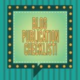 Word écrivant le concept d'affaires de liste de contrôle de publication de blog des textes pour les articles recevables énumèrent image libre de droits