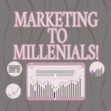 Word écrivant le marketing des textes à Millenials Le concept d'affaires pour soit Internet socialement relié intuitif et reste D illustration de vecteur