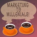 Word écrivant le marketing des textes à Millenials Le concept d'affaires pour soit Internet socialement relié intuitif et reste m illustration de vecteur