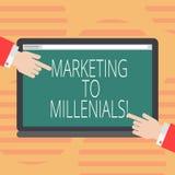 Word écrivant le marketing des textes à Millenials Le concept d'affaires pour soit Internet socialement relié intuitif et reste l illustration libre de droits