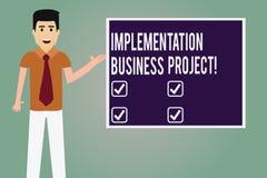 Word écrivant le projet d'affaires d'exécution des textes Concept d'affaires pour le processus d'exécuter un homme de plan ou de  illustration stock