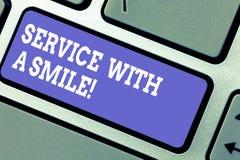 Word écrivant le service des textes avec un sourire E images stock