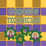 Word écrivant le technicien de corrosion des textes Concept d'affaires systèmes de contrôle deux pour d'installation et de mai illustration libre de droits
