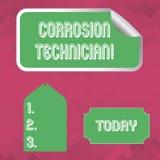 Word écrivant le technicien de corrosion des textes Concept d'affaires systèmes de contrôle pour d'installation et de maintien illustration de vecteur