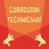 Word écrivant le technicien de corrosion des textes Concept d'affaires systèmes de contrôle pour d'installation et de maintien illustration libre de droits
