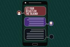Word écrivant le texte a laissé vos résultats font parler Concept d'affaires pour parler moins plus d'action faite par choses pri illustration de vecteur