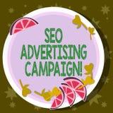 Word écrivant le texte Seo Advertising Campaign Concept d'affaires pour favoriser un site pour augmenter le nombre de lien de dos illustration libre de droits