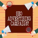 Word écrivant le texte Seo Advertising Campaign Concept d'affaires pour favoriser un site pour augmenter le nombre de lien HU de  illustration de vecteur