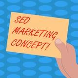 Word écrivant le texte Seo Marketing Concept Concept d'affaires pour la stratégie qui mettent en application pour satisfaire des  illustration stock