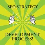 Word écrivant le texte Seo Strategy Development Process Concept d'affaires pour l'optimisation de moteur de recherche développer  illustration de vecteur