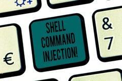 Word écrivant le texte Shell Comanalysisd Injection Concept d'affaires pour usage par des pirates informatiques pour exécuter des images libres de droits