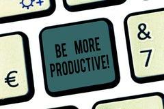 Word écrivant le texte soit plus productif Concept d'affaires pour le produit un grand nombre de cultures de marchandises ou d'au photo stock