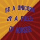 Word écrivant le texte soit un champ d'Unicorn In A des chevaux Concept d'affaires pour Make la différence étant deux spéciaux To illustration de vecteur
