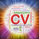 Word étiquette le wordcloud circulaire de cv illustration de vecteur