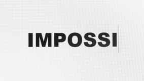 Word που δακτυλογραφείται το αδύνατο στο βίντεο κινηματογραφήσεων σε πρώτο πλάνο 4k οθονών υπολογιστή διανυσματική απεικόνιση