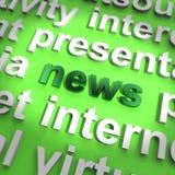 Ειδήσεις Word που εμφανίζουν τη δημοσιογραφία και πληροφόρηση των μέσων ενημέερωσης Στοκ εικόνα με δικαίωμα ελεύθερης χρήσης