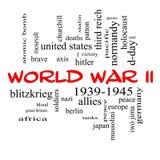 Έννοια σύννεφων του Word Δεύτερου Παγκόσμιου Πολέμου στα κόκκινα καλύμματα Στοκ Εικόνες