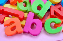 Word ABC on pink table stock photos