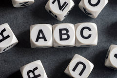 Word abc on toy cubes Stock Images