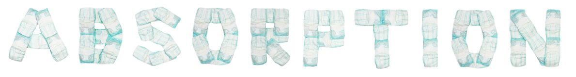Word absorption laid out baby diapers on a white background, isolate, napkin, inscription royalty free stock photo