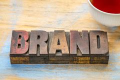 Brand word in vintage wood type Stock Images