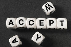Word accept on toy cubes. Word accept on white toy cubes Royalty Free Stock Photo