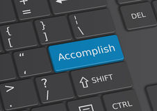 The word Accomplish written on the keyboard. The word Accomplish written on a blue key from the keyboard Royalty Free Stock Images