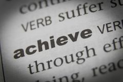 The Word Achieve Close Up.  Royalty Free Stock Photography
