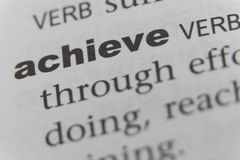 The Word Achieve Close Up.  Stock Image