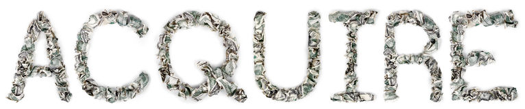 Acquire - Crimped 100$ Bills. The word 'acquire', made out of crimped 100$ bills Stock Photos