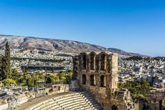 The word acropolis. Comes from the Greek words ἄκρον akron, `highest point, extremity` and πόλις polis, `city Stock Photos