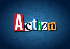 The word Action made from cutout letters. On a blue background Royalty Free Stock Photography