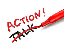 The word action with a red marker Stock Photography