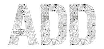 Word ADD for coloring. Vector decorative zentangle object Stock Photography